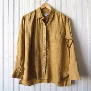 J Jill Love Linen Button Down Tunic Blouse XS